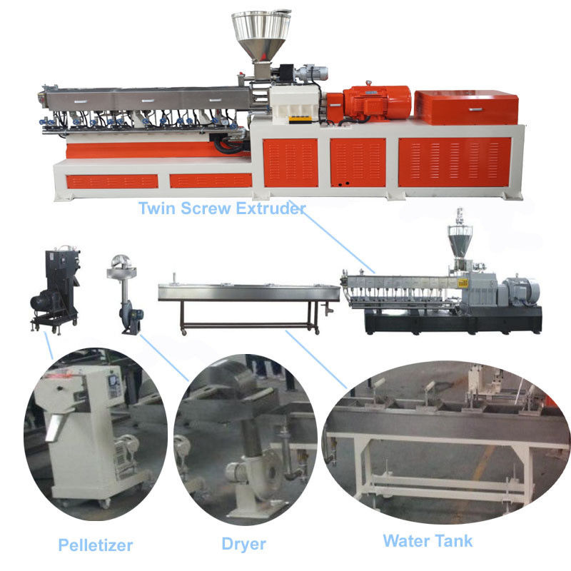 Color Masterbatch Twin Screw Extruder , Pvc Extruder Machine Water Strand Cutting System